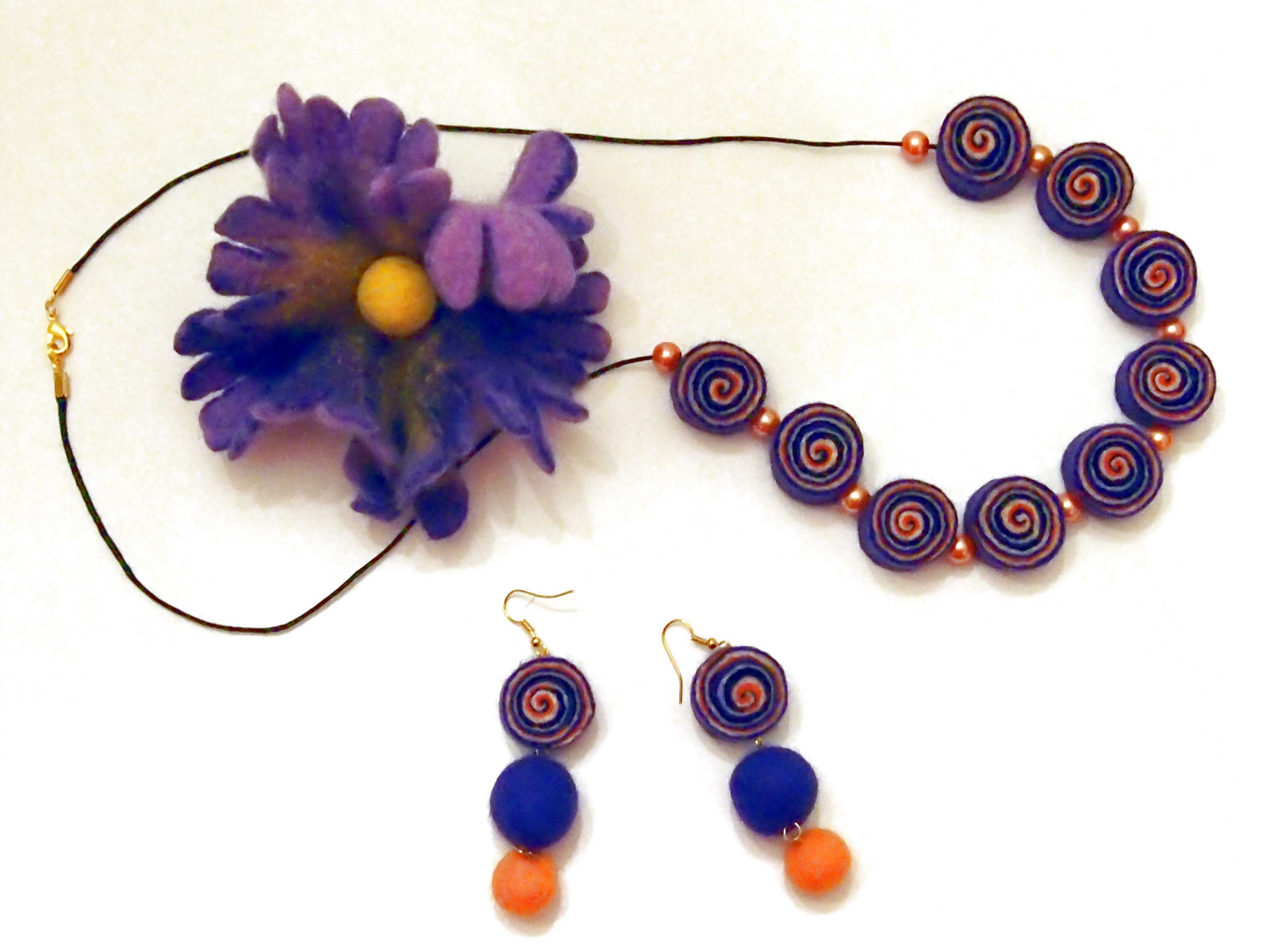 Handmade felted Jewellery art course in Worcestershire
