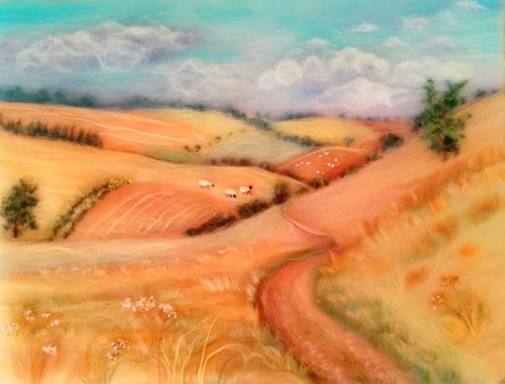 'Landscape with cornfields' wool painting course