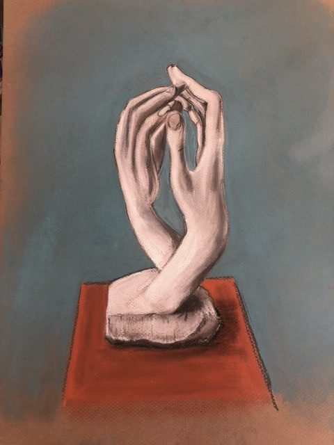Learn how to draw human hands with Artist Raya Brown. Student's work