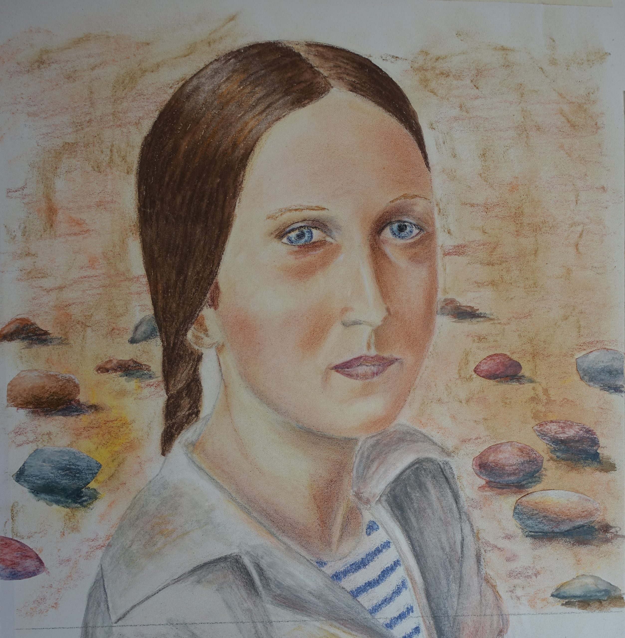 Mixed media work by John created at online art portrait course with west midlands artist Raya Brown