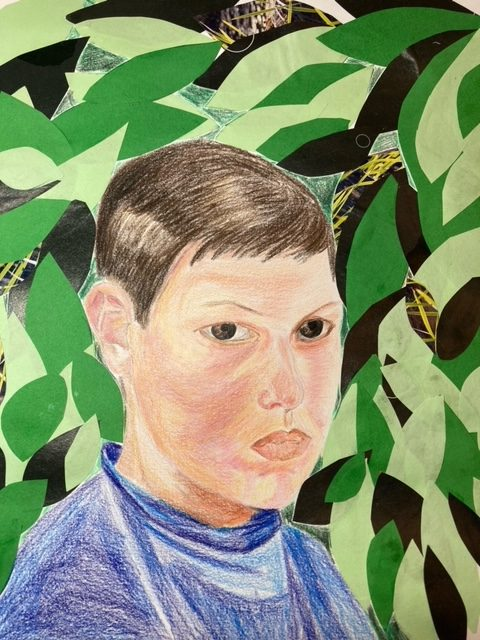 Portrait of a boy. Collage and coloured pencil work