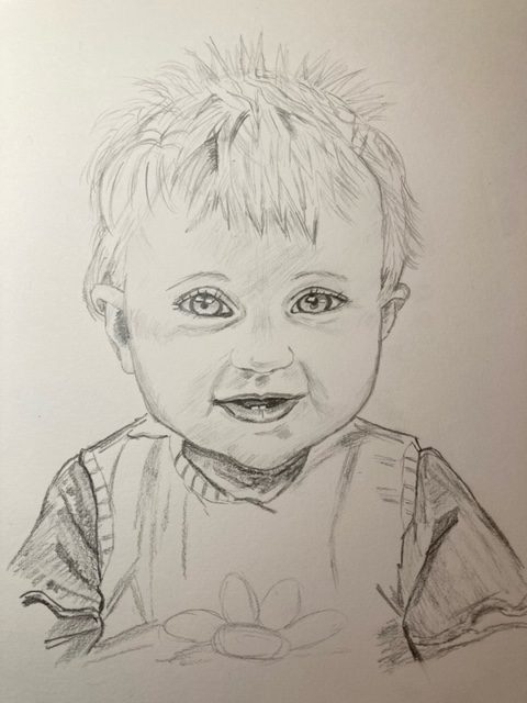 Fantastic Portraits of children drawn at online Portrait art classes with live tuition in Worcestershire