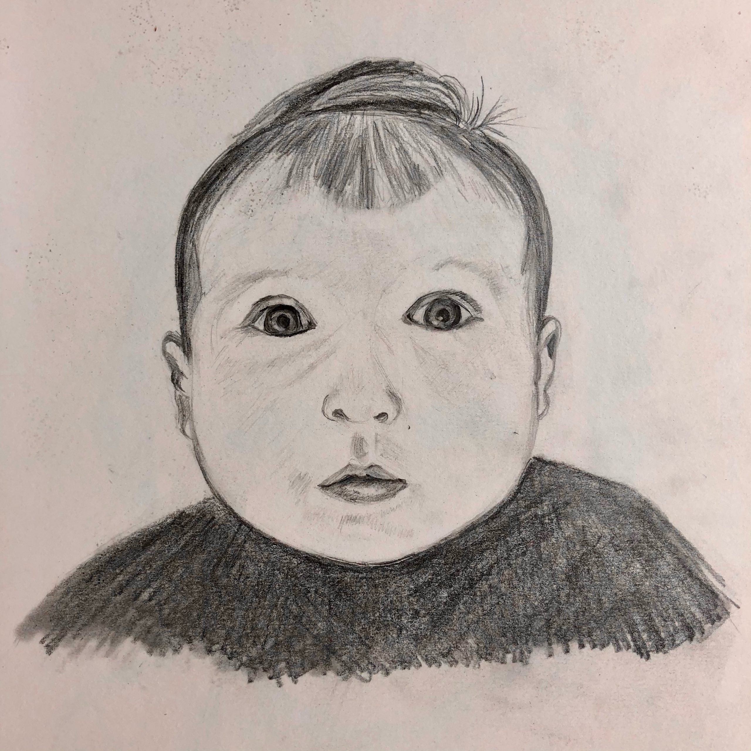 Portrait of a baby by Michelle created at online art course with live tuition with an artist Raya Brown