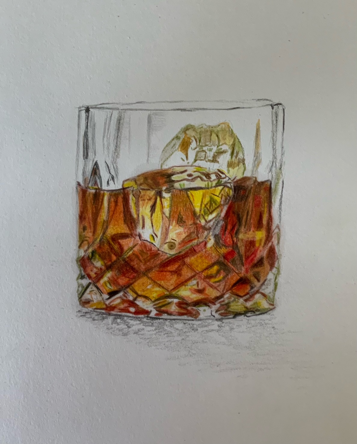 Observation of a whisky glass by Hazel a online student with Worcestershire Art Tutor Raya Brown