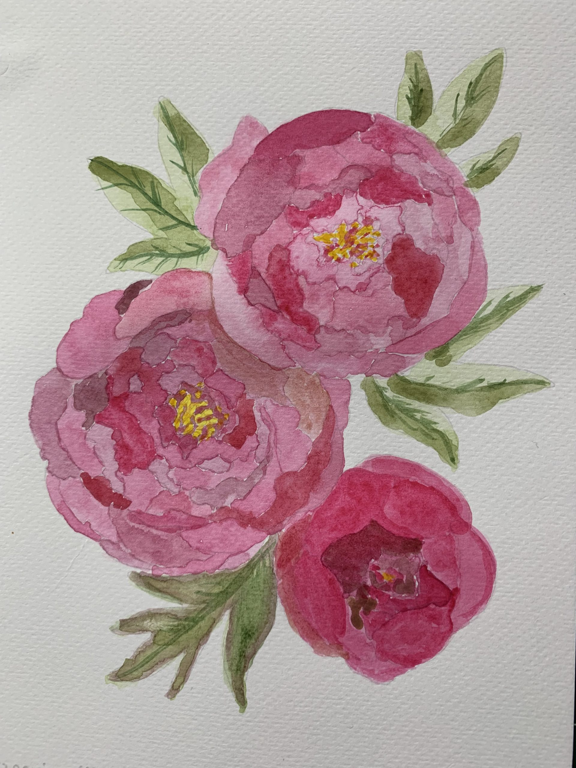 Floral watercolour by Lynne painted at online art classes