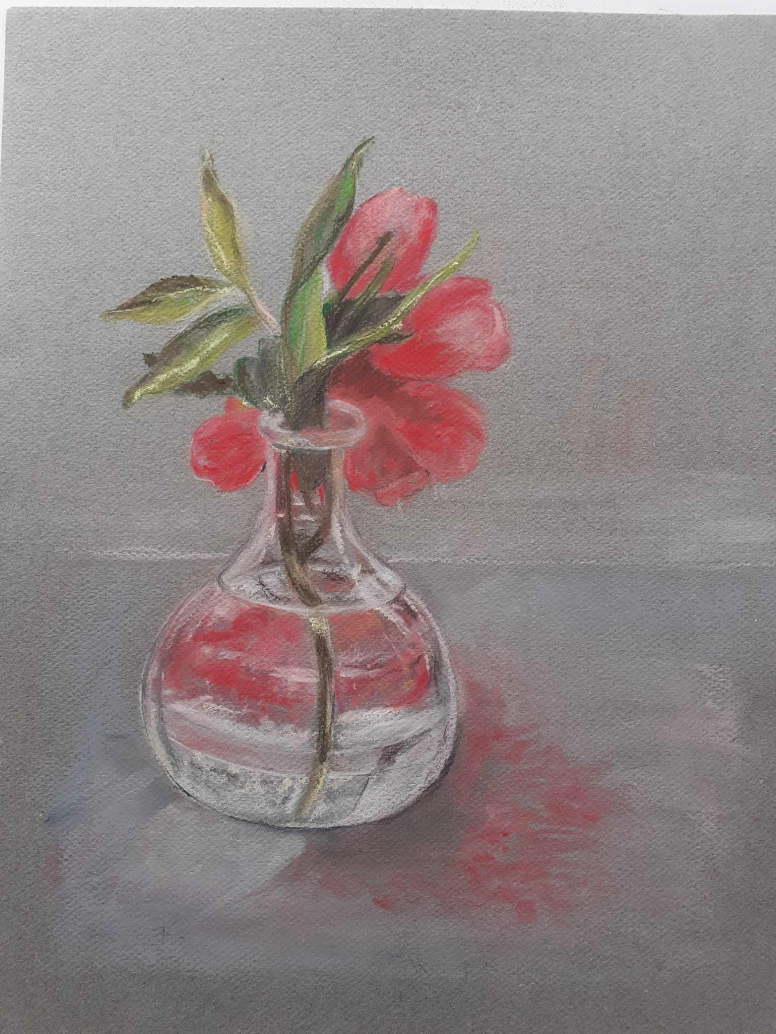 Peony in a glass vase by Linda