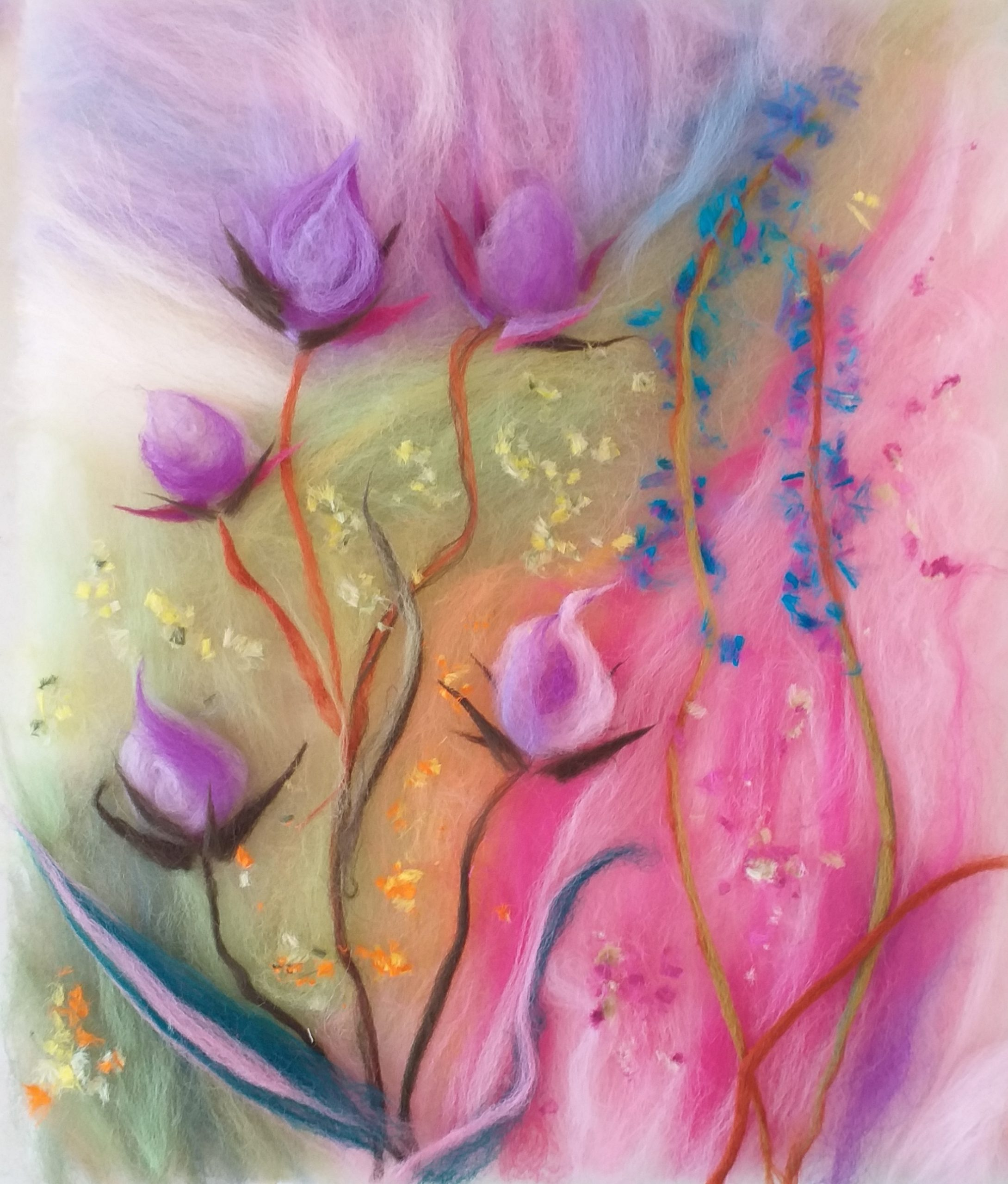 Wool Painting and Felting Textiles Courses at Magic Wool Art and Craft Studio in Kidderminster Worcestershire.