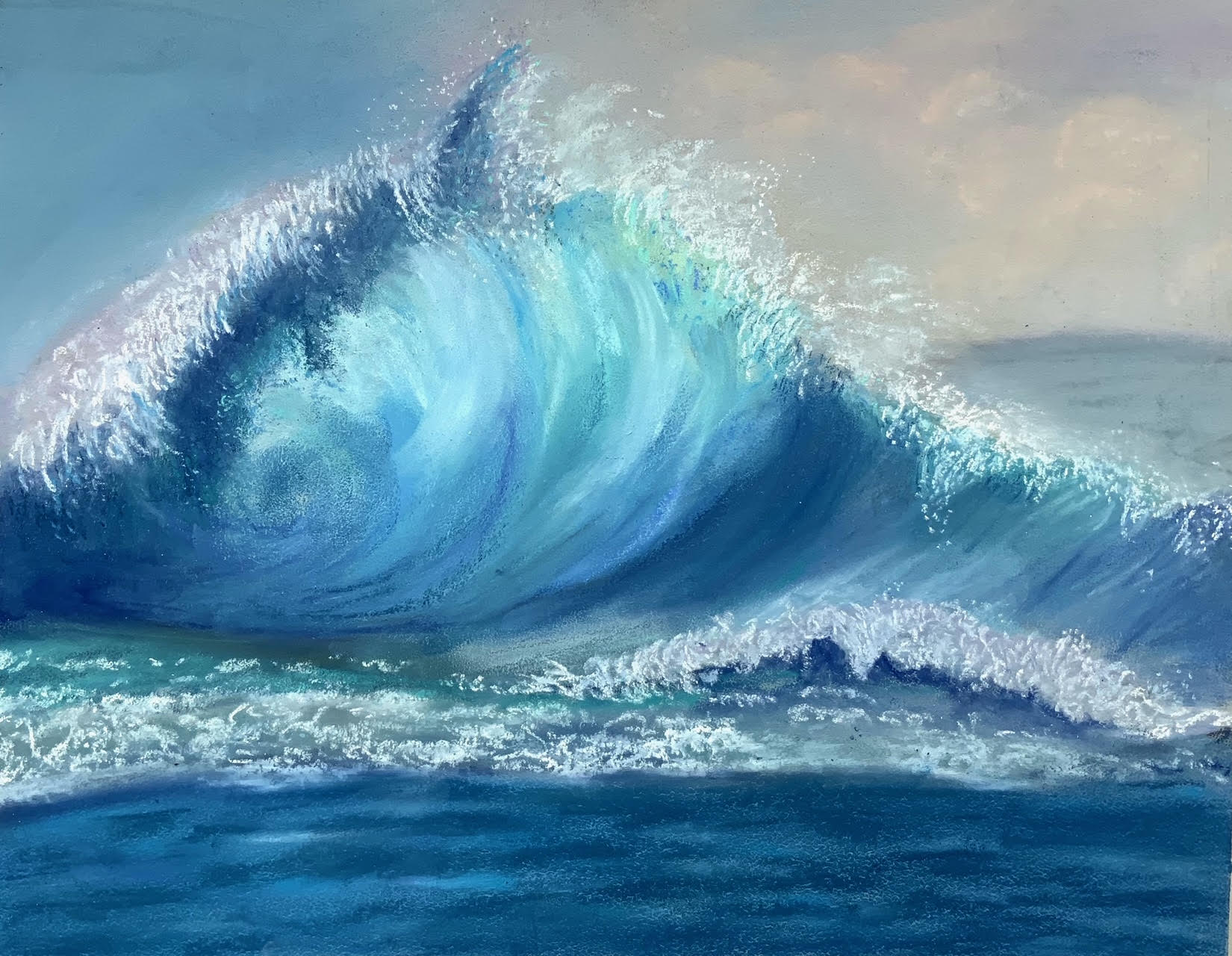 Sea wave pastel work by Hazel created at online Introduction to Soft pastels course