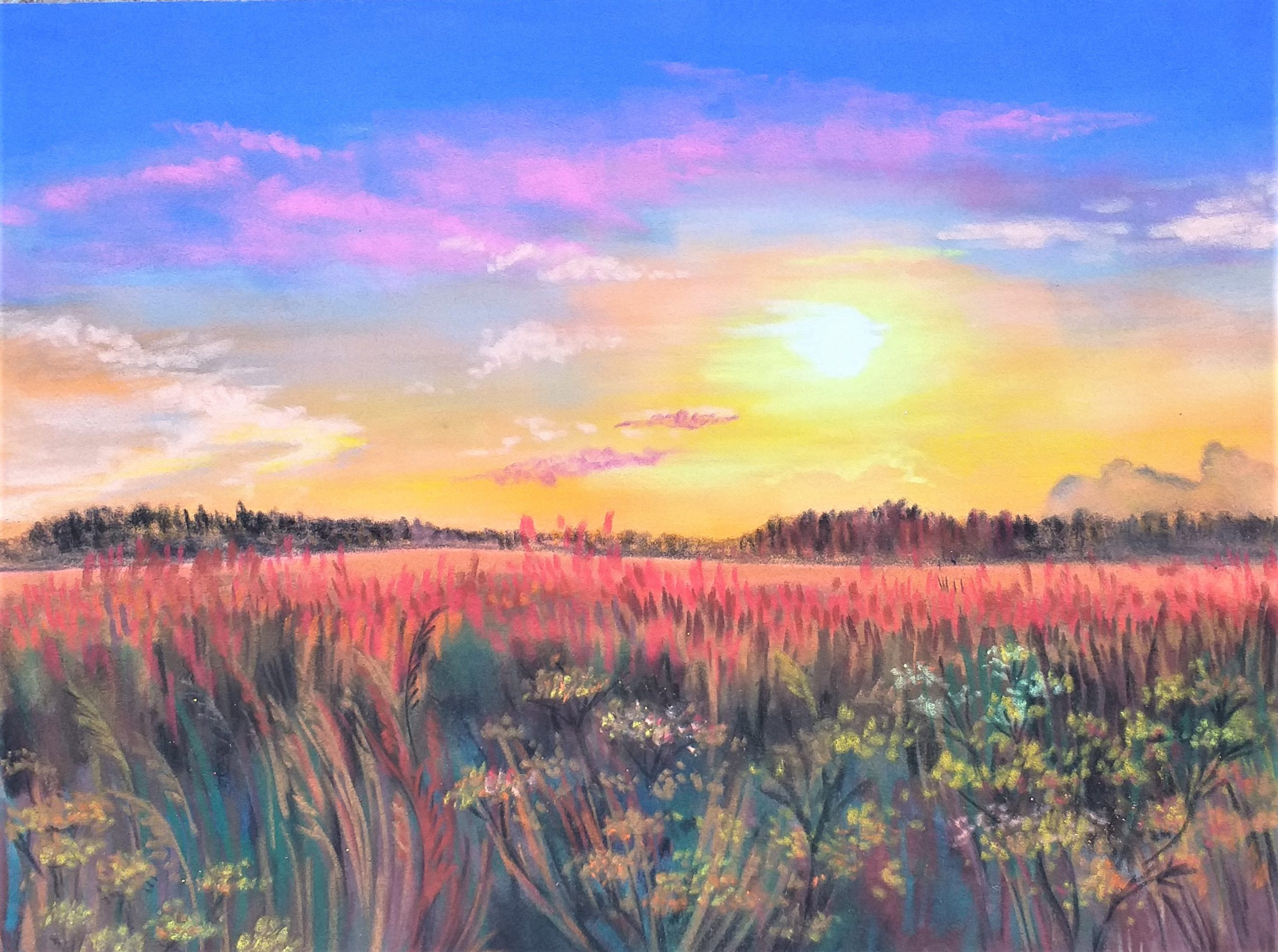 Learn to paint beautiful sunsets in soft pastels with artist Raya Brown